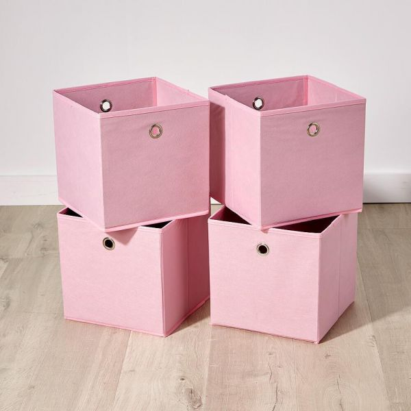 Fabric 4 piece pink storage boxes with round finger hole handles