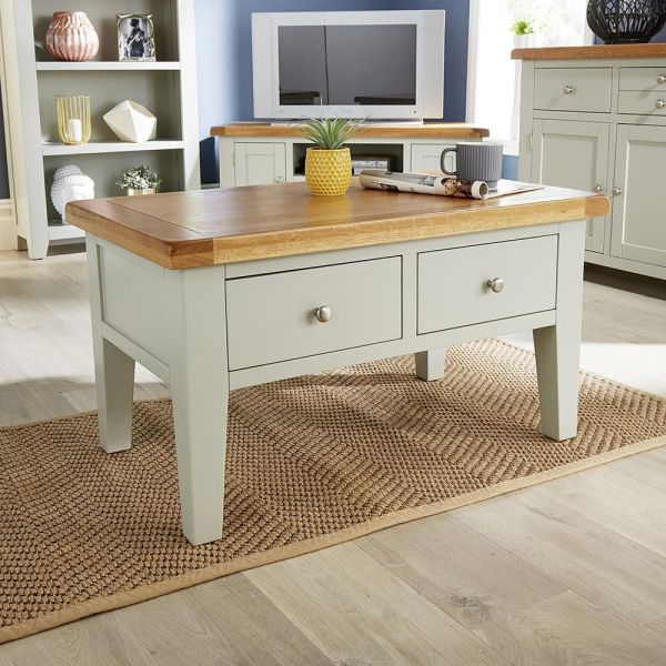 grey compact coffee table with 2 drawer storage and oak top