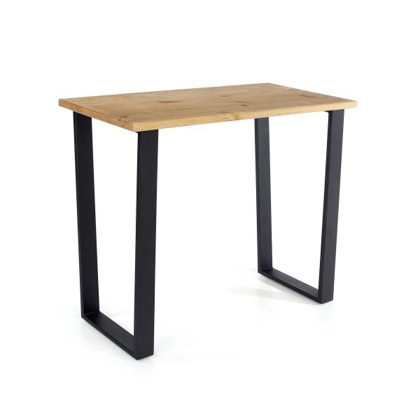 modern pine console table with black metal legs