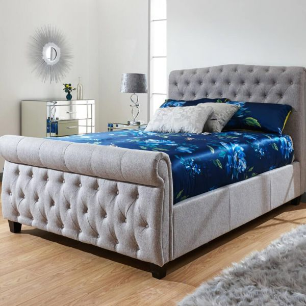 4ft 6 grey ottoman bed with deep button details