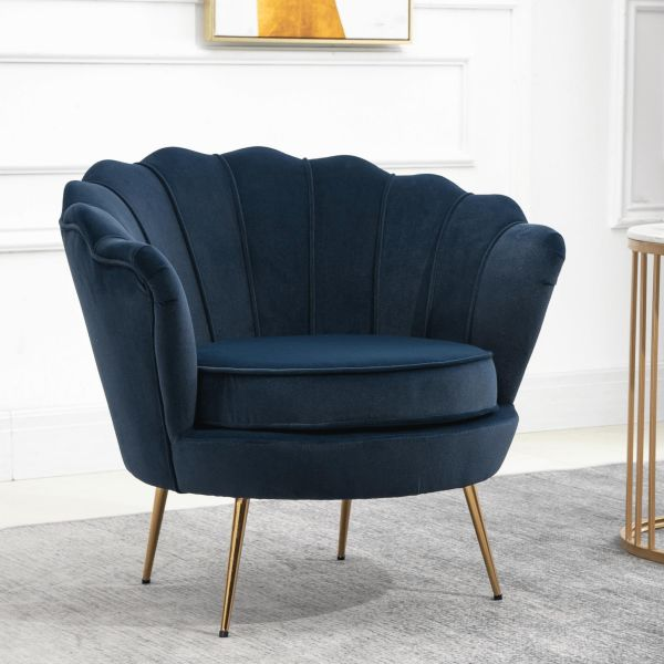 Scallop shell shaped blue chair with padded seat and 4 golden coloured legs