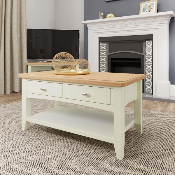 white painted two tone wooden coffee table with drawer storage and oak top