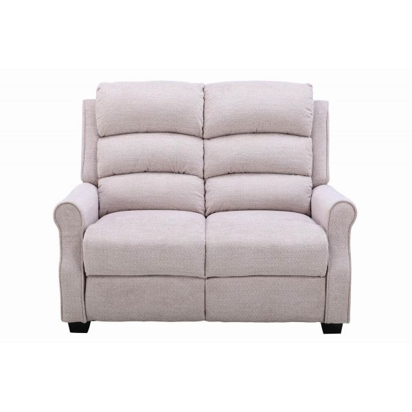 Neutral mushroom chenille covered 3 level padded sofa