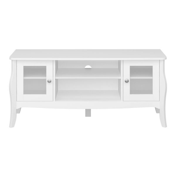 Narrow white tv unit with 2 clear doors and shelf space