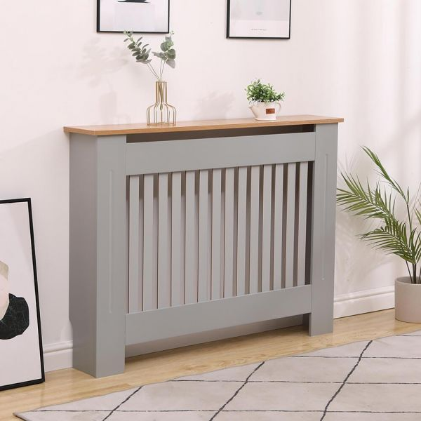 medium modern grey radiator cover with oak top