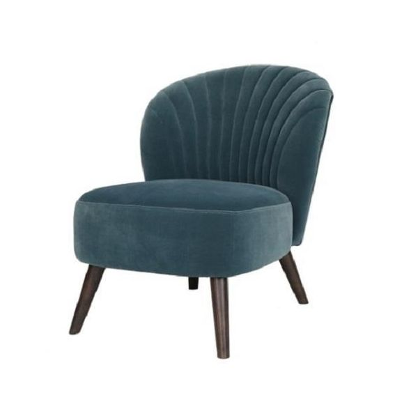 Teal shell-like designed accent chair with dark solid wood shaker-style legs