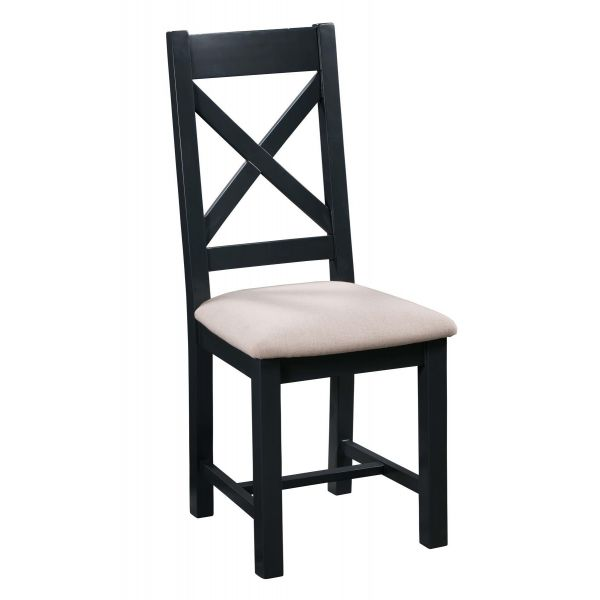 Solid wood cross-back blue dining chair with light contrasting padded seat