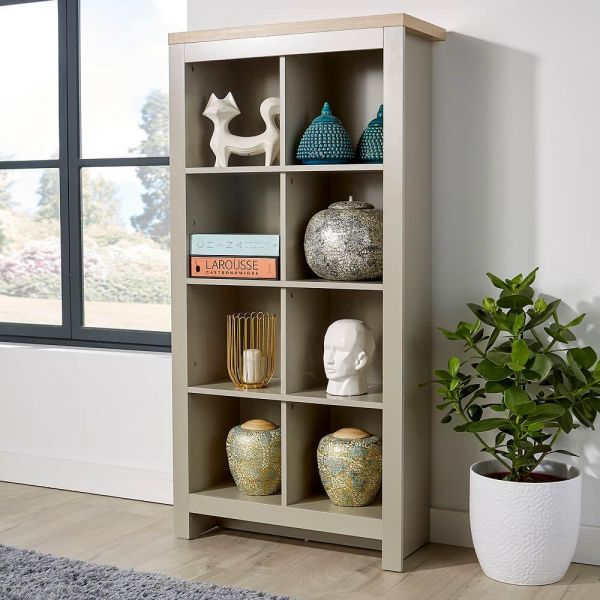 Grey wooden 8 cube storage unit with natural wood effect top
