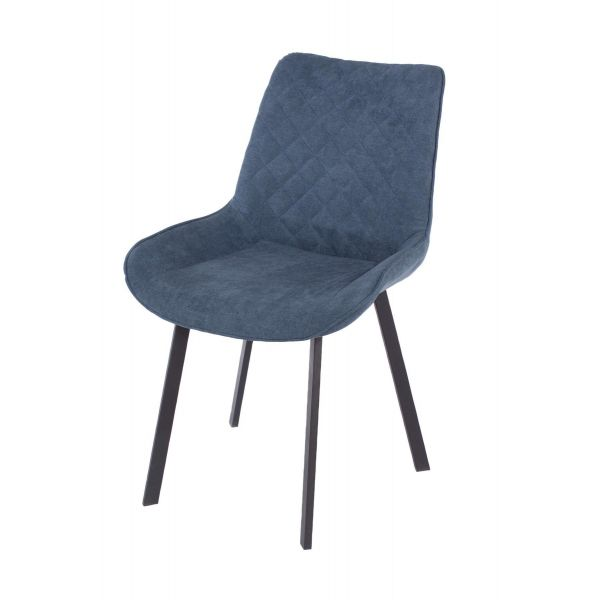 Blue fabric upholstered chair with metal legs