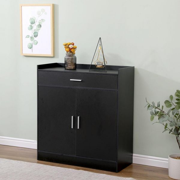 Black shoe cabinet with 2 doors and 1 drawer, with silver handles