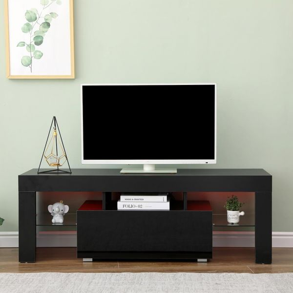 Black gloss 1 drawer tv stand with glass shelf