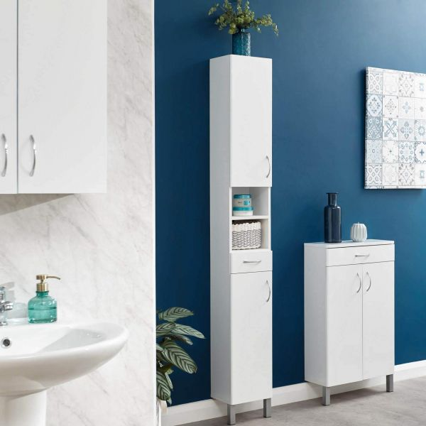 Tall white bathroom cabinet with 2 doors, 1 small drawer and shelf space
