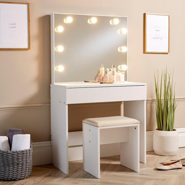 Hollywood style white dressing table set with illuminated mirror and padded stool