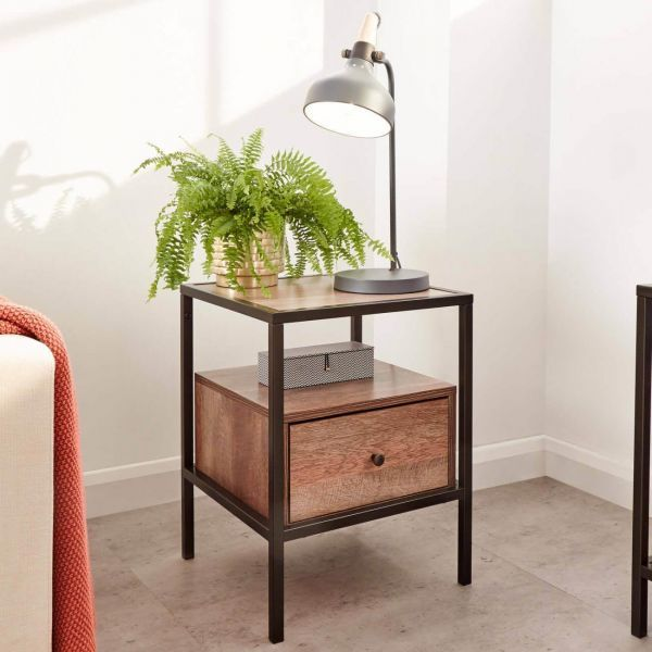 Wooden small lamp table with black metal features and undershelf