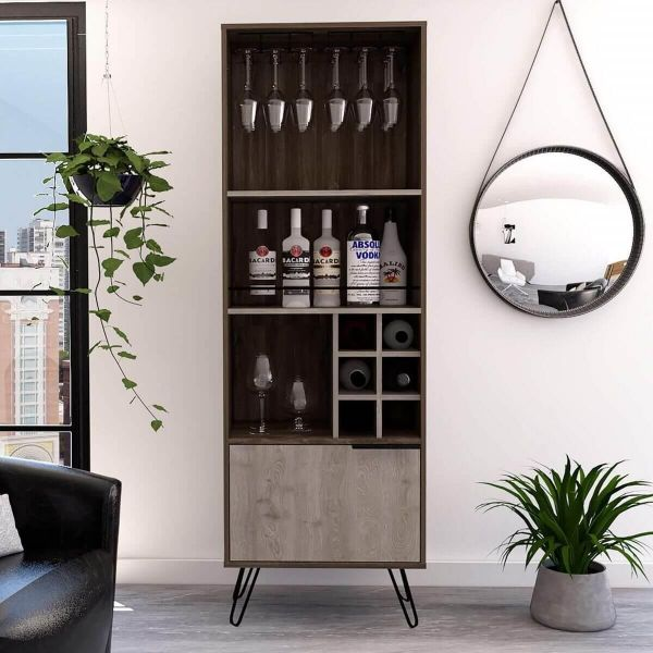Smoked oak and bleached oak grey tall drinks cabinet