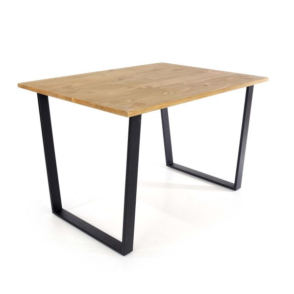 wide solid pine dining table with modern black metal legs