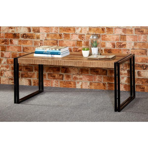 Large rectangular wooden coffee table with black metal frame