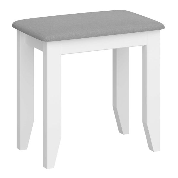 White pine framed stool with grey cushioned top and scandi style design