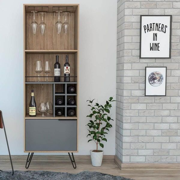 Bleached oak and grey drinks cabinet with bottle storage