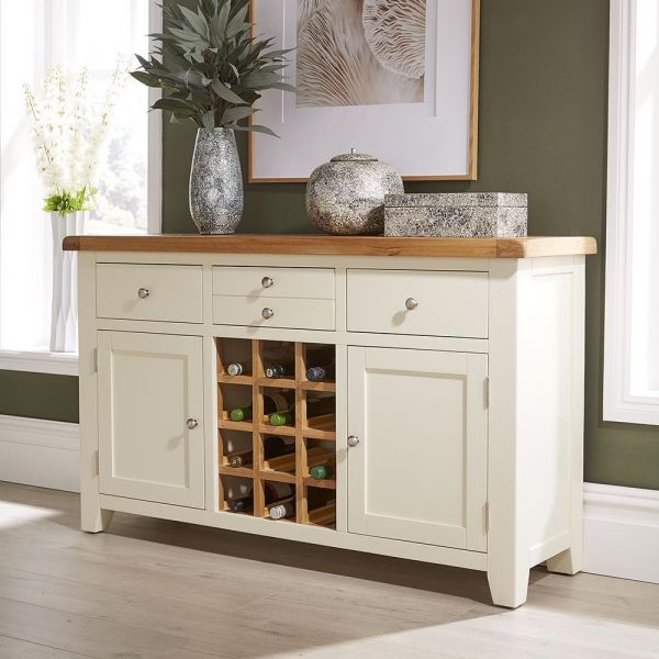 solid oak white painted large wine rack sideboard cupboard storage with wooden top