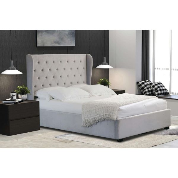 Grey fabric ottoman king size storage bed with wingback headboard