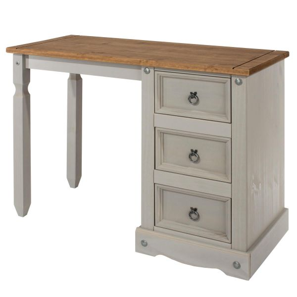 Grey solid wood dressing table with gunmetal coloured ring handles and details with natural wood effect top