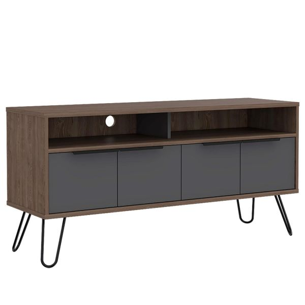 Dark wooden tv unit with 4 drawers, 2 small shelf spaces and metal legs