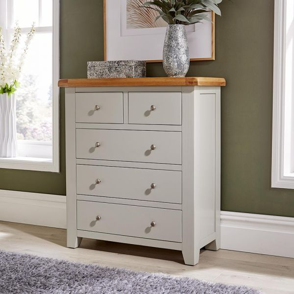 solid wood white painted 5 drawer chest of drawers with wood top