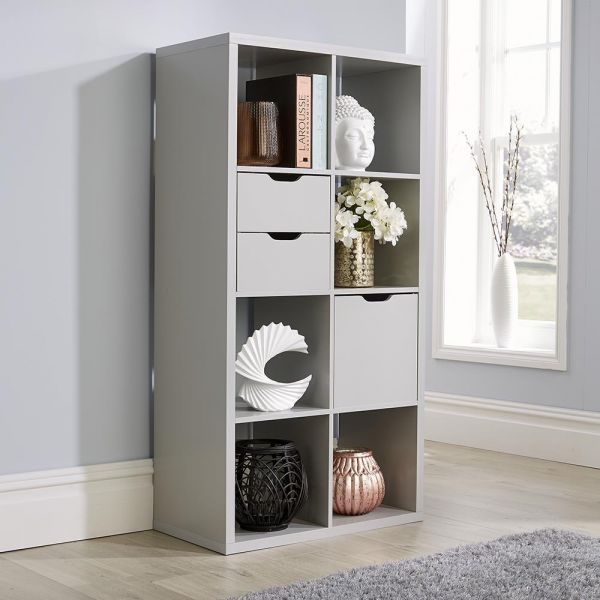 Deluxe chunky grey 8 cube storage unit with optional solid or fabric drawers