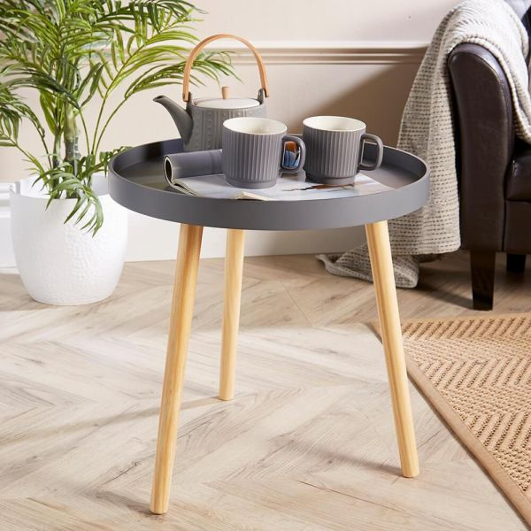 grey modern round lamp table with lip and 3 wooden legs