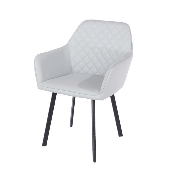 Light grey fabric armchair with metal legs