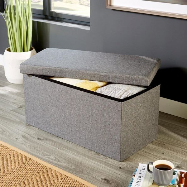 Charcoal-coloured linen rectangular folding ottoman