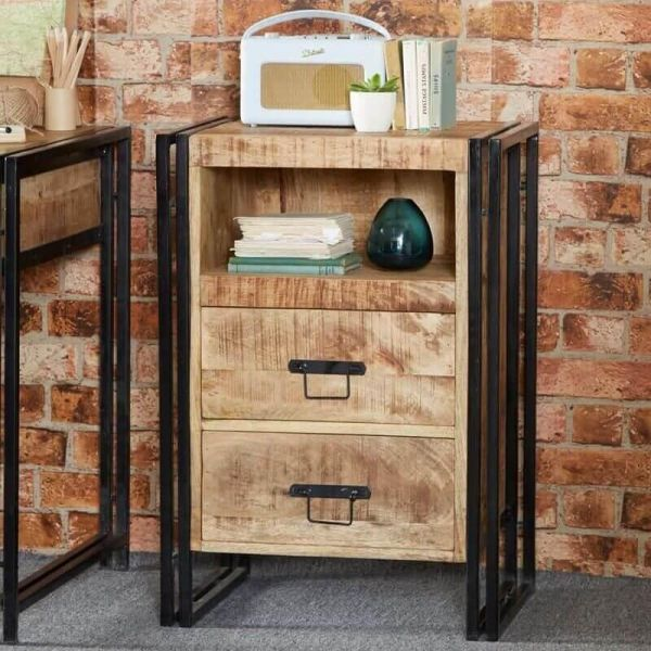 Solid mango wood and reclaimed metal industrial 2 drawer side table with shelf and black metal frame