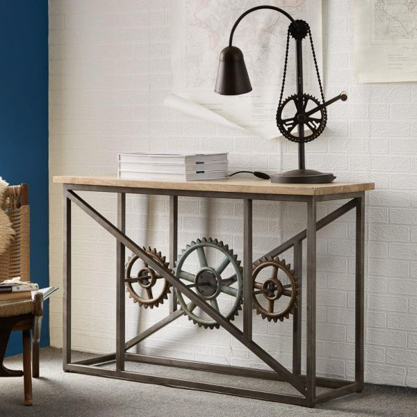 Industrial console table with dark metal frame with cog design, and solid wooden top