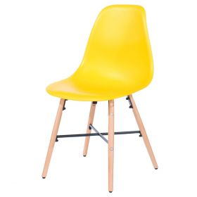 Yellow plastic balloon dining chair with wooden legs and metal cross-frame