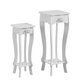 2 different sized, white, curved-leg, floral-designed plant holders