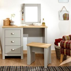 Grey 3 drawer dressing table set with oak effect top
