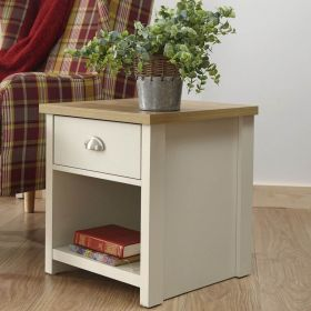 Cream 1 drawer and open shelf lamp table with oak-effect top