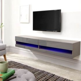 Large grey LED floating tv stand with 2 compartments