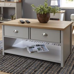 Grey 2 drawer coffee table with shelf underneath and oak effect top