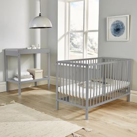 Strong solid wood grey cot with adjustable base height and slats on all sides
