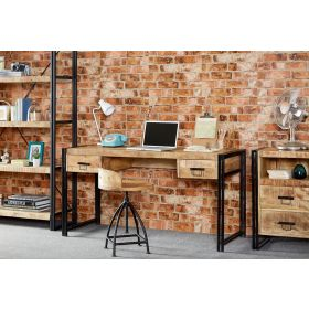 Solid wood industrial look desk with 2 drawers and black metal frame