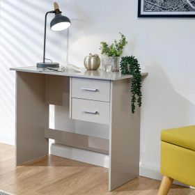 Grey 2 drawer desk with silver metal handles