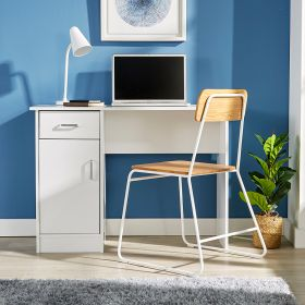 White desk with 1 drawer, 1 door and leg space underneath with silver metal handles