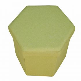 Green fabric hexagon ottoman