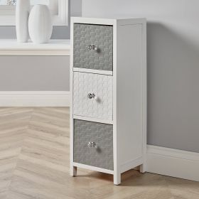 Solid wood and MDF white and grey 3 drawer crystal-handled storage