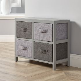 Solid wood 4 drawer storage with fabric drawers in two-tone grey
