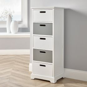 White 5 drawer solid storage with white and grey drawers