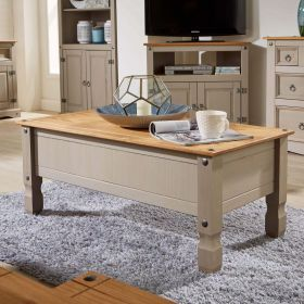 Grey solid wood coffee table with drawer