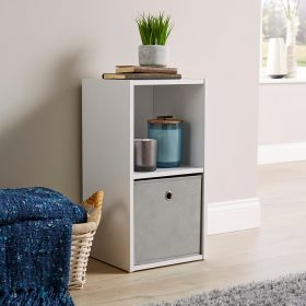 Versatile 2 cube storage in white, with canvas pull-out drawers